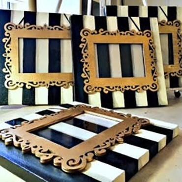 Black/White Striped Canvas Frame